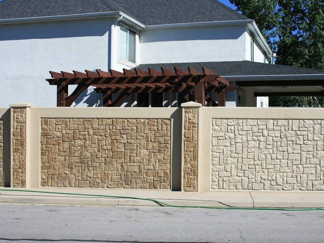Finished concrete fence.